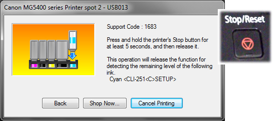 Stop-Reset button press prompt